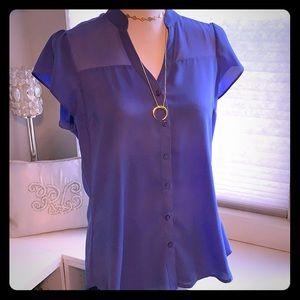 Flutter Sleeve Blouse Periwinkle Purple - Medium